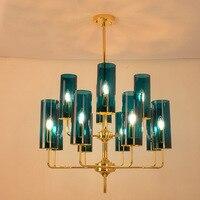 Nordic modern luxury glass chandelier lighting 6 heads 8 heads 15 heads blue/cognac chandelier living room dining room bedroom i