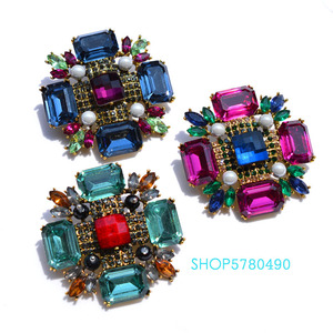 Image 5 - Classic Jewelry Six Color Big Crystal Brooch for Party Wedding Accessories Fashion Breast Pin Cross Brooch Ladies Coat Garments