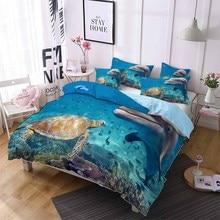 Sea Life Blue Bedding Set Turtle Dolphin Comforter Cover Queen King Double Bed Linen Set Pillowcase Girl Duvet Cover Set 2/3pcs bedding set double euro altinbasak navi sky blue