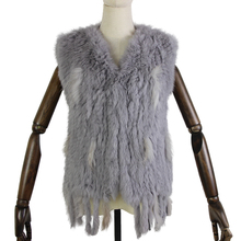 Harppihop*Knit knitted handmade Rabbit fur vest gilet sleeveless garment waistcoat