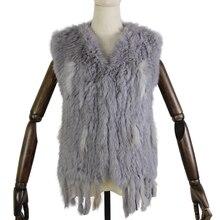 Harppihop * malha de malha artesanal coelho pele colete gilet sem mangas vestuário colete