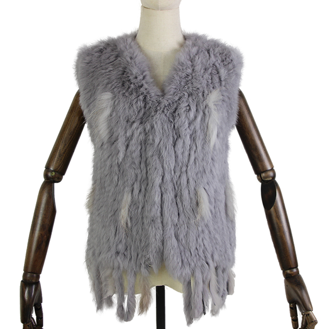 Harppihop * לסרוג סרוג בעבודת יד ארנב פרווה vest gilet שרוולים בגד חזייה