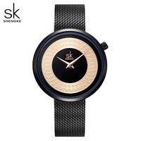 Shengke sukienka zegarek damski kobiety siatka metalowa modny zegarek Vintage Design zegarek damski luksusowa marka klasyczny seks koliati
