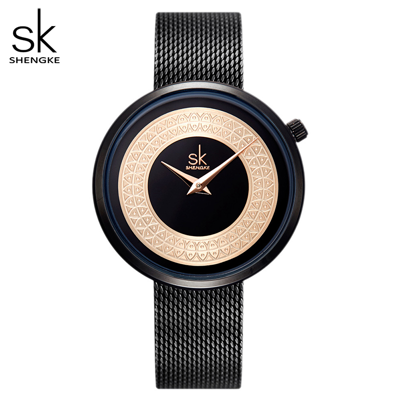 Shengke Dress Female Watch Women Metal Mesh Fashion Clock Vintage Design Ladies Watch Luxury Brand Classical Bayan Kol Saati