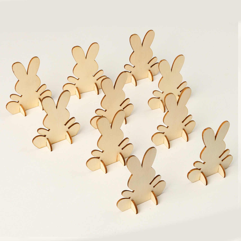 100 mm Adorno de Conejo de Madera Natural Para Decoración Etiquetas de Regalo de hágalo usted mismo 20 un