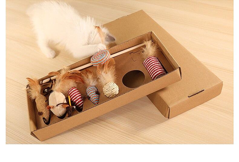 Товары для кошек, игрушечный костюм для кошек, забавная палочка для кошек, набор из 7 предметов, Забавный кошачий прут, Интерактивная трениро...