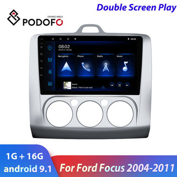Podofo 2din car radio Android Car Multimedia Player For Ford Focus Exi MT 2004-2011 2din GPS autoradio double screen car stereo image