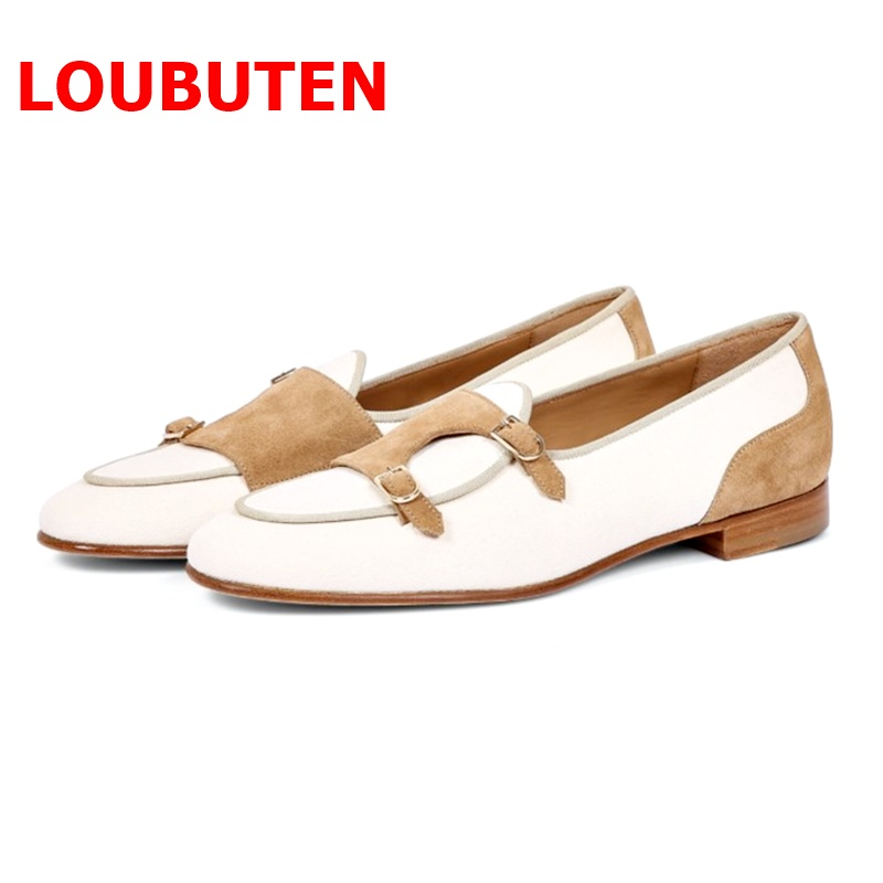 Promo LOUBUTEN British Style Patchwork Canvas Shoes Men Monk Stral Loafers Luxury Handmade Slip On Mens Shoes Casual Flats Slippers