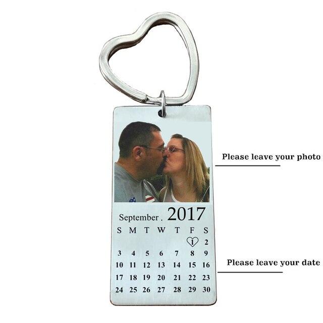 Stainless Steel Custom Photo Calendar KeyChain Engravable ID Dog Tag Charm Pendant Key Chain 1