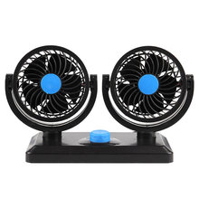 Double Head Car Fan 360 Degree Rotation Auto Plastic Vehicles Minivans(China)