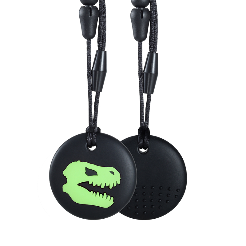 2PCS  Dino Skull Teether Silicone Chewable Toy Cool Chew Necklace BPA Free Eco-friendly Silicone Chewy Toy for Kids