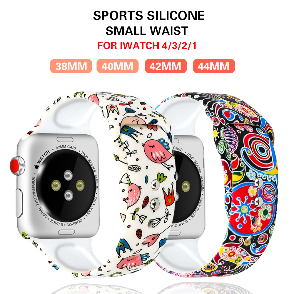 Printed Strap For Apple Watch Band Pulseira Apple Watch 5 4 3 44mm 40mm Iwatch Band 42mm 38mm Sport Silicone Bracelet Wrist Belt