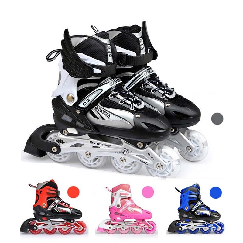 Adjustable Size Inline Skates Shoes For Kids Boy Girl PU Flashing 4 Wheels Roller Skates Children Roller Skating Sneakers Boots
