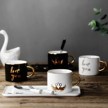 Creative Porcelain Paint Luxury Coffee Cup Ceramic Modern Cups with Spoon Tazzine Caffe Office Afternoon Coffee Tea Cup MM60BYD