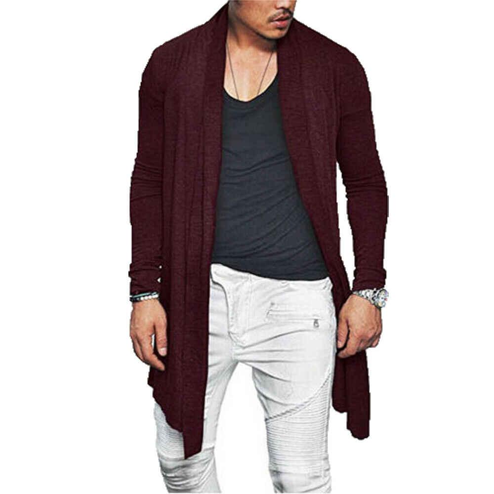 Homens Outono Trench Coat Quente Sólida Longa Vala Outwear Masculino Manga Longa Ocasional Diária Abrir Ponto Solto Casaco Tamanho M-3XL