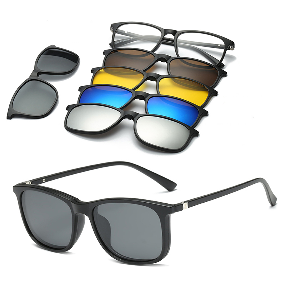6 In 1 Custom Men Women Polarized Optical Magnetic Sunglasses Clip Magnet Clip On Sunglasses Polaroid Clip On Sun Glasses Frame