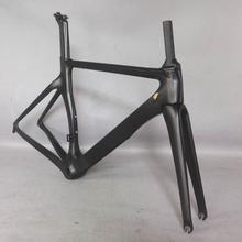 Tantan factory Cuadro aerodinámico para bicicleta de carreras, cuadro de fibra de carbono para bicicleta de carretera, color negro, 700c, se acepta pintura