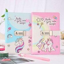 Cuaderno con contraseña de unicornio A5, Bloc de notas para oficina y escuela, de piel sintética diario Personal, diario de papel de alta calidad, regalo de papelería