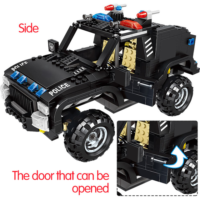 630PCS City Police Swat Car Truck Building Blocks Compatible City Police Weapon Gun Bricks Kids Educational Toys