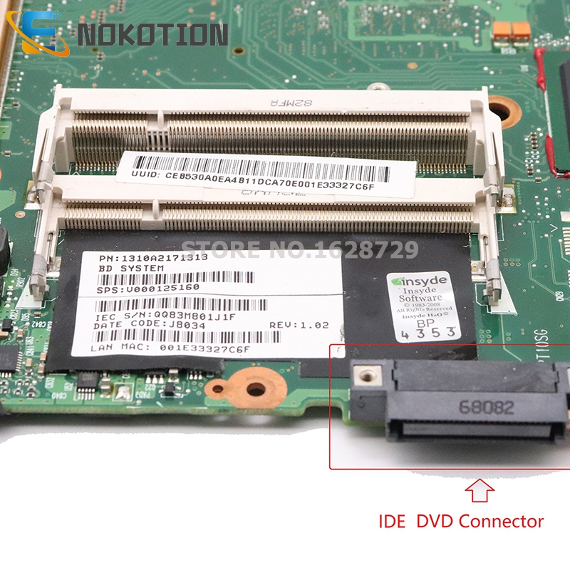Image 3 - NOKOTION V000125160 6050A2171301 MB A02 For Toshiba Satellite  A300 A305 Laptop motherboard 965PM DDR2 with graphics slot IDE  DVDLaptop Motherboard