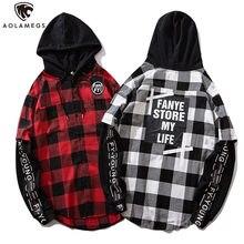 Aolamegs camisas dos homens retro xadrez com capuz camisas de manga cheia carta impressão falso 2 peças carga hip hop retalhos streetwear outono