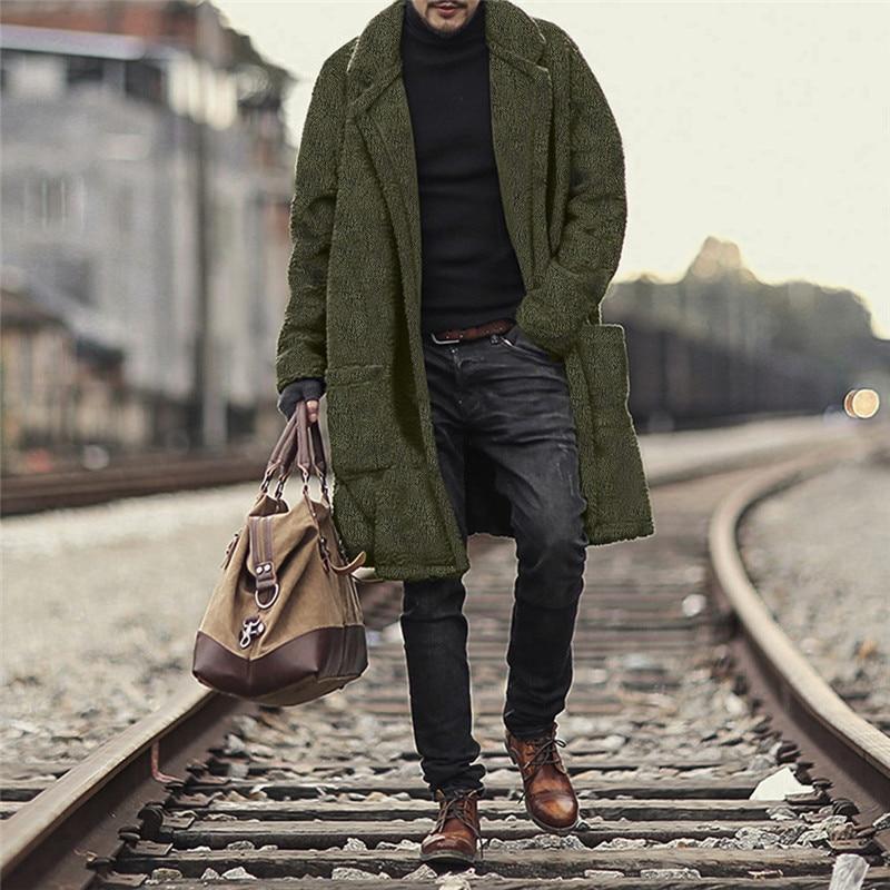 Men's Coats Fashion Men Loose Warm Plush Cardigan Long Furry Double-Sided Coat Tops Blouses Outwaer Fashion Large Cardigan Coat