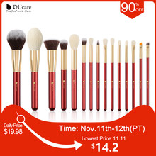 DUcare 15PCS Makeup brushes set Natural hair Make up brushes Foundation Powder Eyeshadow Brush Lowest Price for 11.11 Big Sale(China)