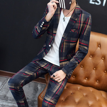 European Station New Polyester Mens Small Suit Suit Youth Casual Business Slim Trend Mens Plaid Suit Two piece Men Red Blazer