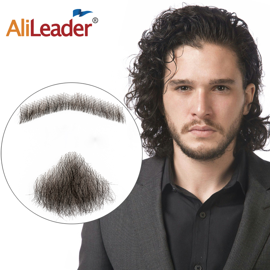 Alieader Lace Beard For Men Hand Made Real Hair Mustache  Fake Beard For GentleMen  Invisible Fake Beards