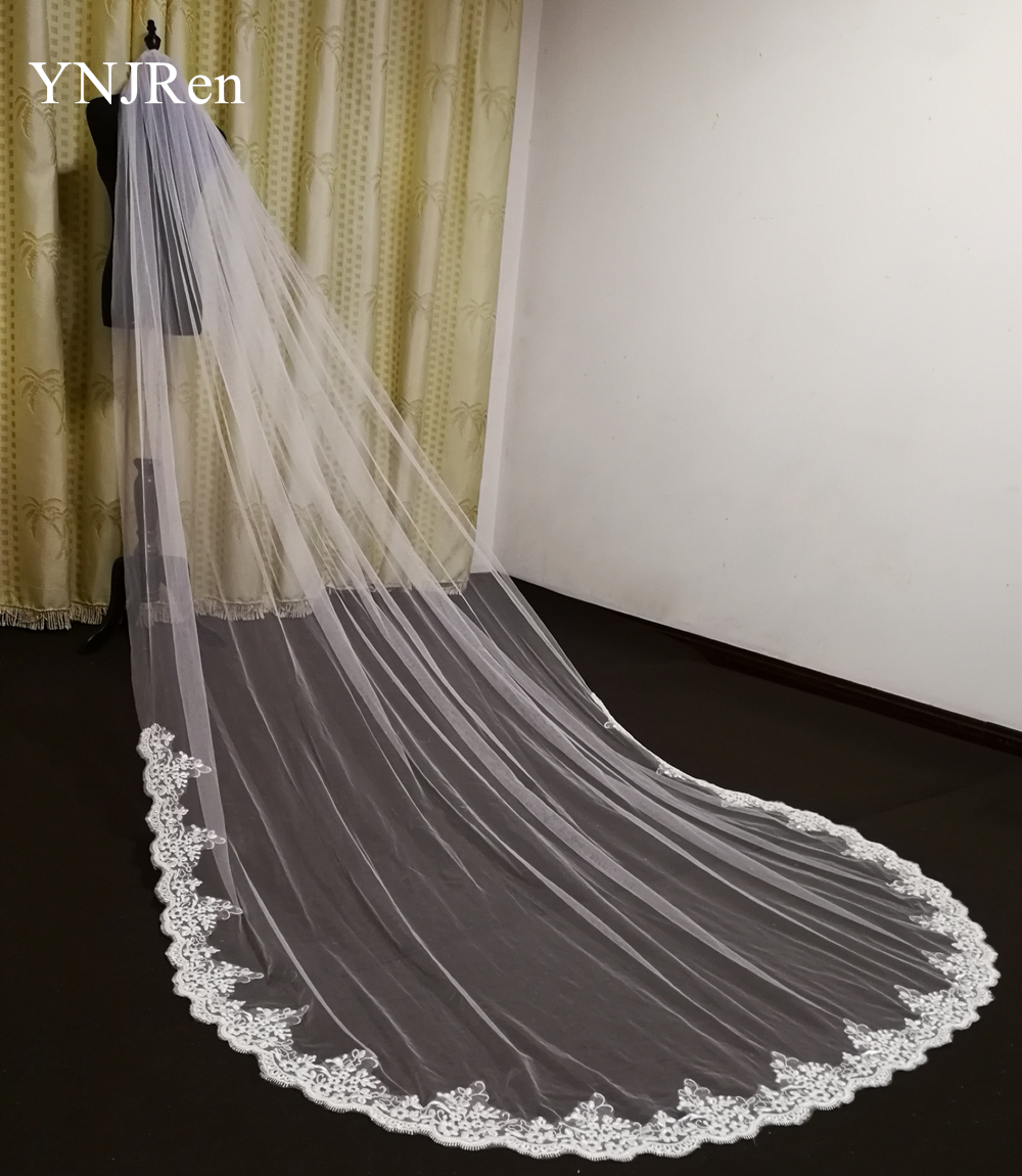 Real Photos Wedding Accessories White/Ivory Wedding Veil with Comb Lace Mantilla Cathedral Bridal Veil Veu De Noiva