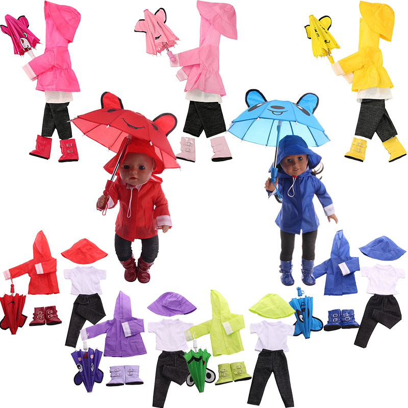 Raincoat Suit 6 Pcs/Set=Jacket+Umbrella+Boots+Hat+Pants+Shirt Fit 18 Inch American Doll&43 CM Baby Doll Clothes,Our Generation