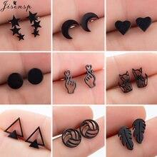 Wielokrotne czarne kolczyki ze stali nierdzewnej dla kobiet mężczyzn moda siatkówka liść Fox Star Moon kolczyki Piercing biżuteria prezent