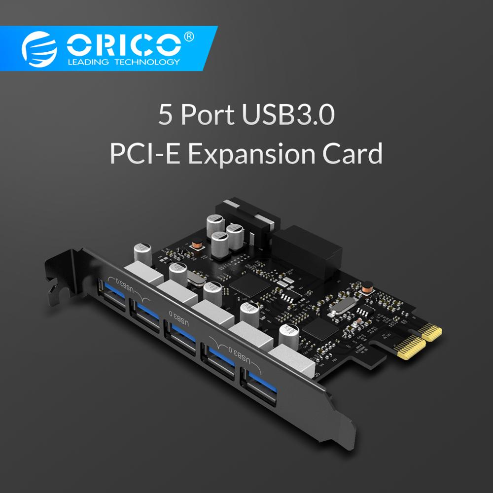 ORICO USB 3.0 PCI-E Expansion Card 5 Ports Hub Adapter External Controller Express Card With 4-pin Power Connector Cord