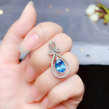 CoLife Jewelry 100% Natural Topaz Pendant for Party 7*9mm Light Blue Topaz Necklace Pendant 925 Silver Topaz Jewelry(China)