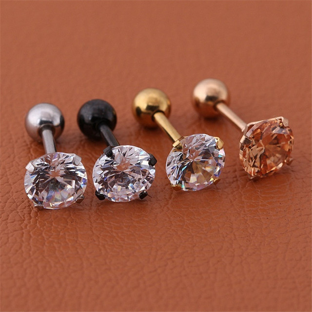 1pc/lot Size 3/4/5/6mm 4 Colors Punk Medical Stainless Titanium Steel Needle Zircon Crystal Stud Earrings For Men Women Party 3