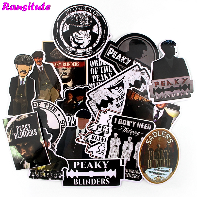 Ransitute 18pcs / Set Peaky Blinders Retro Waterproof Fun Sticker Guitar Computer Scooter JDM Graffiti Applique Decoration R721