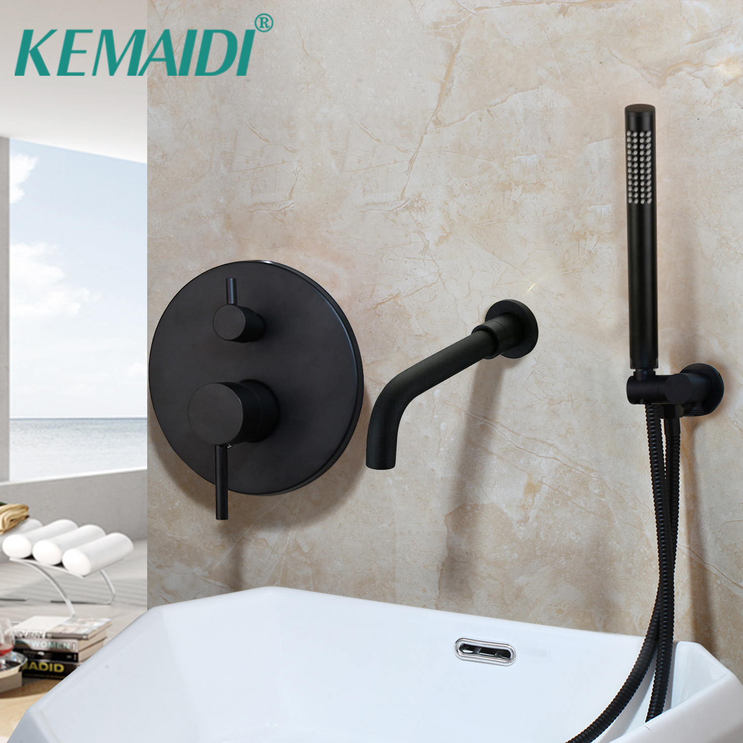 KEMAIDI  Matte Black Europe style Shower Faucet Set  Bathroom Faucets Set with Hand Shower Head Black Mixer for Cold and Hot