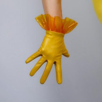 Women PU Leather Gloves 25cm Transparent PVC Plastic Wave Folds Lace Short Faux Ginger Yellow Female WPU295