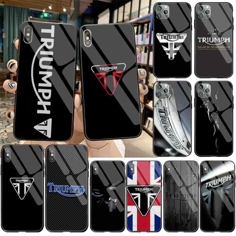 Triumph – coque de téléphone portable en verre trempé, étui souple personnalisé avec logo de moto pour iPhone 11 Pro XR XS MAX 8X7 6S 6 Plus SE 2020