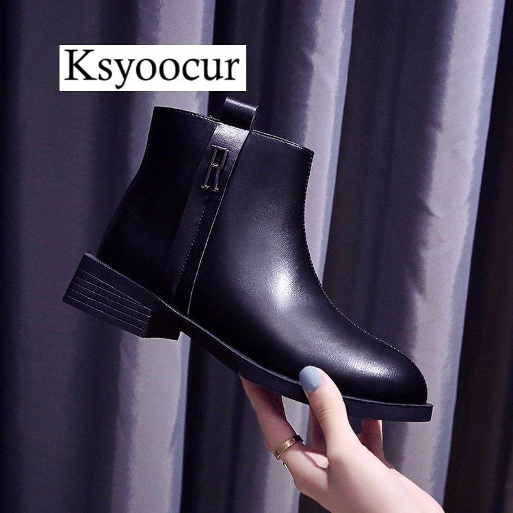 Marque Ksyoocur 2019 nouveau dos fermeture éclair noir bottines pour femmes semelle intérieure chaude femmes bottes talon bas automne/hiver femmes chaussures Q01
