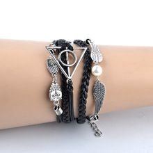HP Potter Fashion Charm Handmade Deathly Hallows Wings Leather Bracelets Vintage Multilayer Braided Bracelet Bangle janeyacy vintage anchor bracelet pulsera hombres popular leather bracelets men fashion multilayer bracelets women jewelry party