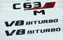 C63S noir brillant pour AMG V8 BITURBO | Combo Badge noir pour Mercedes, nouvelle collection(China)