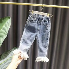 Baby Girls Jeans Lace Jeans Pants For Girls Elastic Waist Kids Jeans spring Autumn Novelty Clothes For Infant Girls Trousers