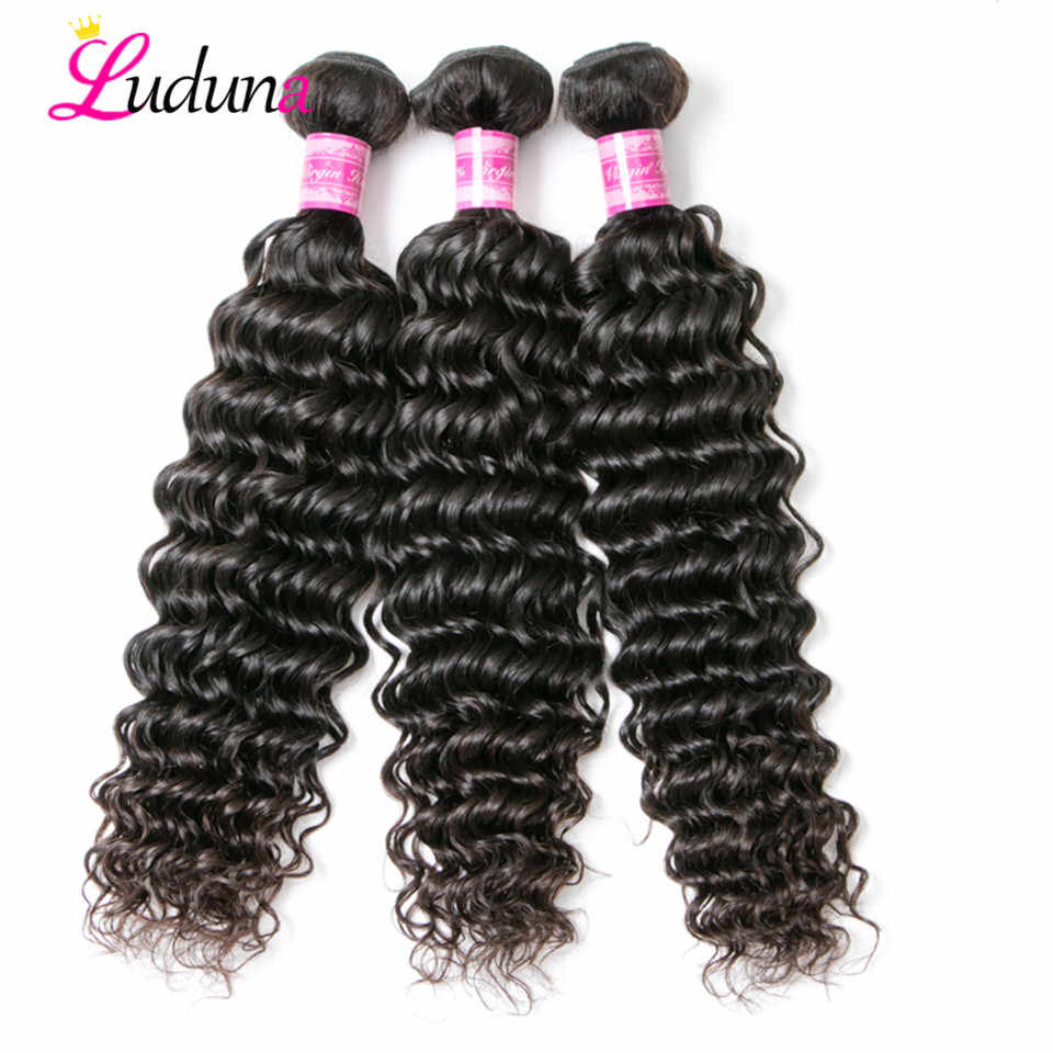Deep Luduna Deep Wave 3 Bundles Malaysian Hair Weave Bundles Remy Deep Hair Extension Human Hair Weft