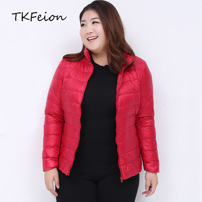 Womens <font><b>Bomber</b></font> <font><b>Jacket</b></font> Plus Size 3XL-7XL Light Ultra-thin Spring Autumn Female Slim Short Coat Warm Duck Down Filler Stand Collar image
