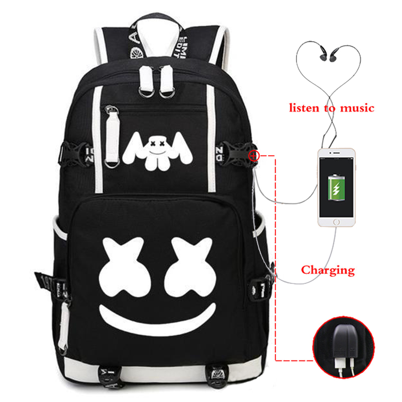 DJ Marshmello Marshmallow Backpack Luminous USB Charging Backpack Student Bag
