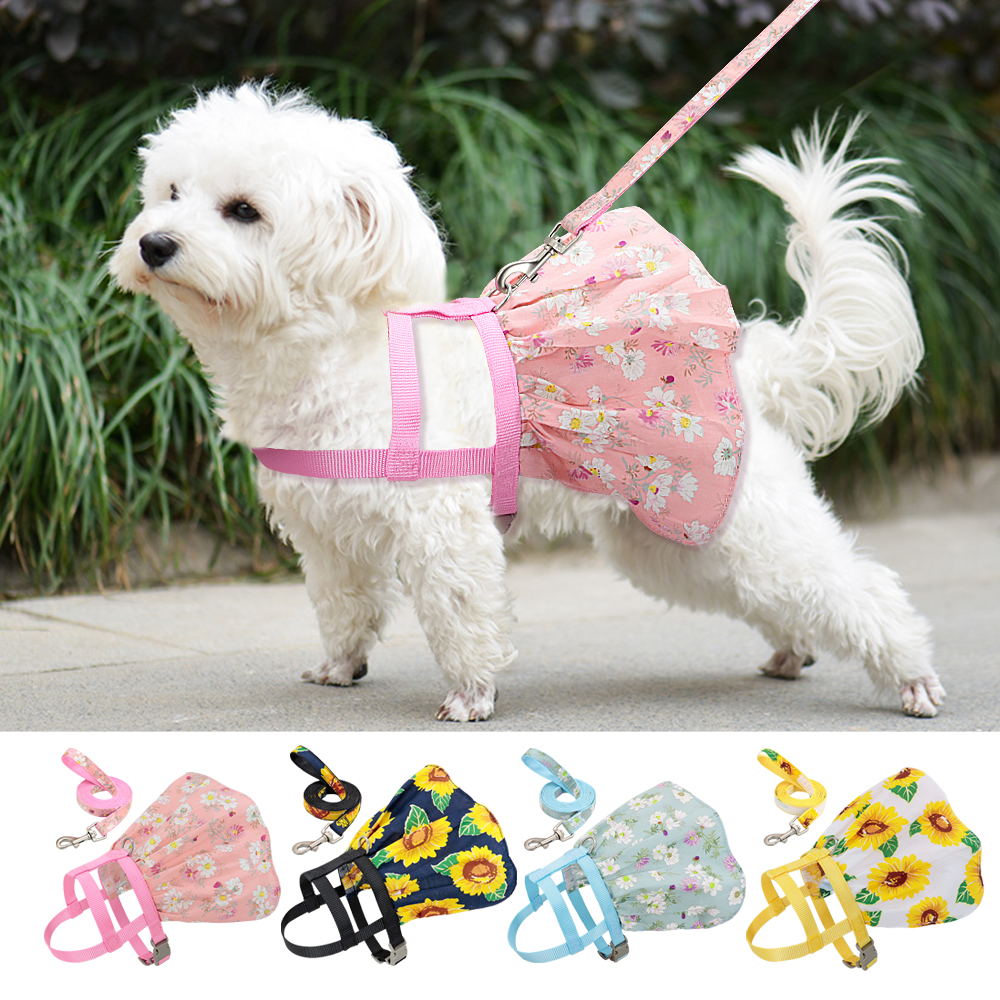 Small Puppy Dog Cat Clothes Harness Leash Adjustable Floral Printed Pet Harness Vest Dress For Small Medium Dogs Cats Chihuahua 1