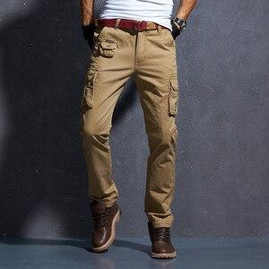 Image 5 - AKSR erkek moda rahat pamuk kargo pantolon büyük boy esnek taktik askeri kamuflajlı pantolon haki pantolon erkek pantolon Joggers