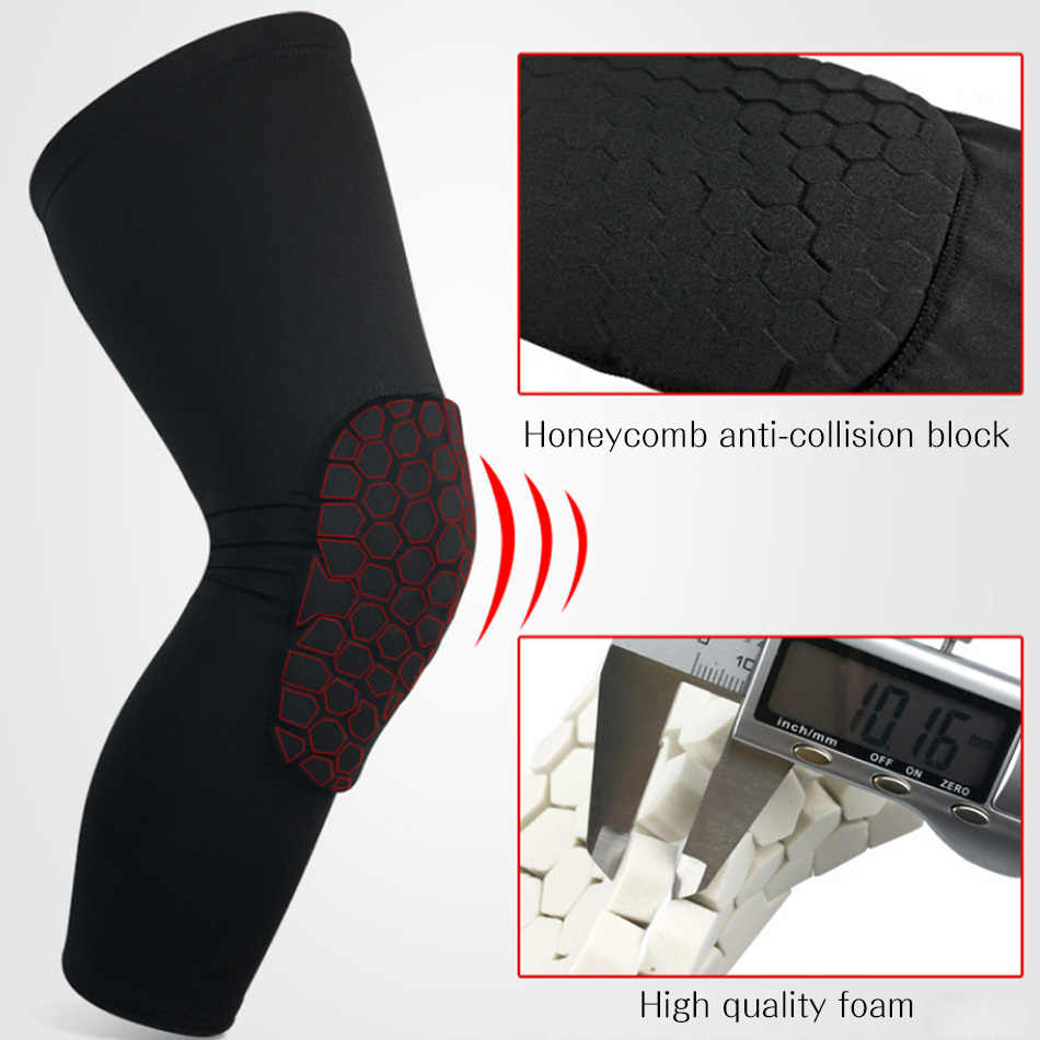 Rexchi 1 pc basquete joelheiras manga favo de mel cinta elástica joelheira protetor engrenagem patela espuma apoio vôlei apoio