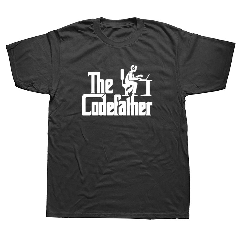 The Codefather Programmer Developer Programming T-shirt Cotton Short Sleeve Geek Nerd Computer Code Short Sleeve T Shirt Men